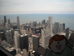 Flat Stanley at the top of Willis Tower