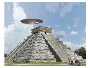 It's hard to believe, but Dewey and Mia were never in Chichen Itza. I can't say one way or the other about the UFO.
