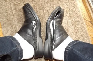 I'm wearing white socks so you can see the shoes better