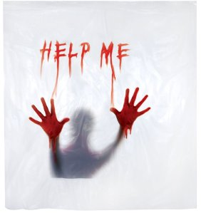 """Help Me"" Shower Curtain (From Amazon.com)"