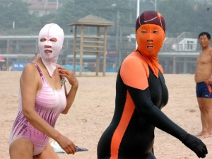 Officer - one of the thieves was wearing a pink facekini and the other was orange. (Photo from  gratefulgrapefruit.com)