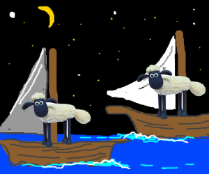 Two sheeps passing in the night