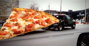 Pizza Towing - apropos for a BBQ joint